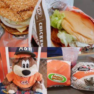 A&Wバーガーのハンバーガーとマスコットキャラクター