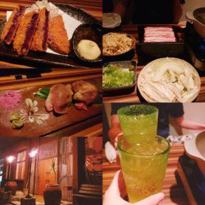 アダンのしゃぶしゃぶ、紅芋コロッケ、肉寿司