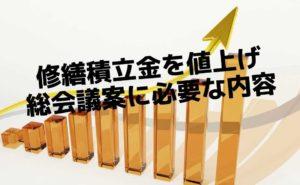 修繕積立金の値上げを意図する右肩上がりのグラフ